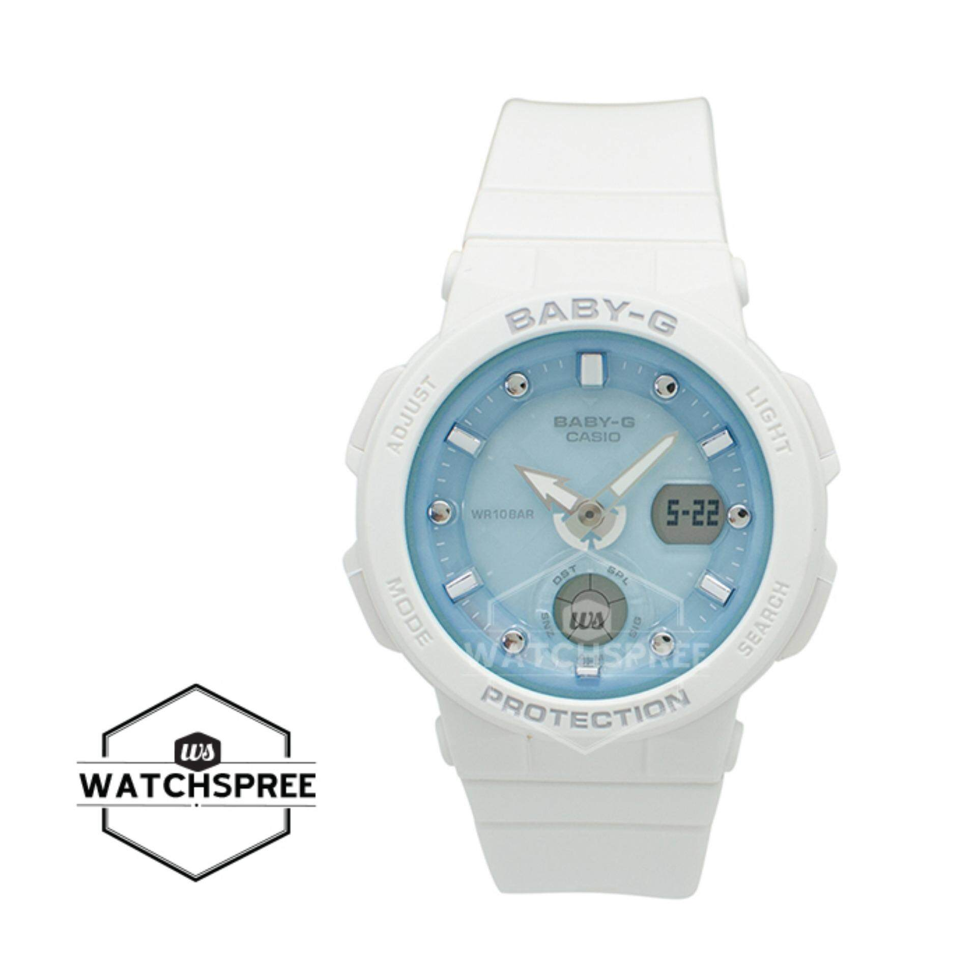 Casio Baby G Watches Price In Malaysia Best Bga 180 7b1 Beach Traveler Series White Resin Band Watch Bga250 7a1