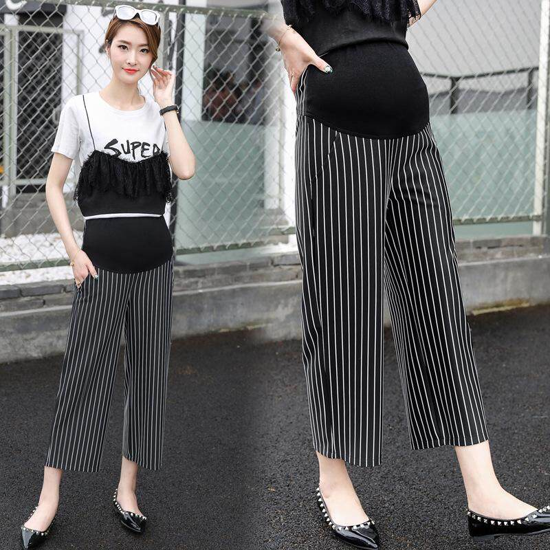 f71b2cdc219 Vertical Stripes Cotton Belly Maternity Pants Elastic Waist Pencil Trousers  Clothes for Pregnant Women