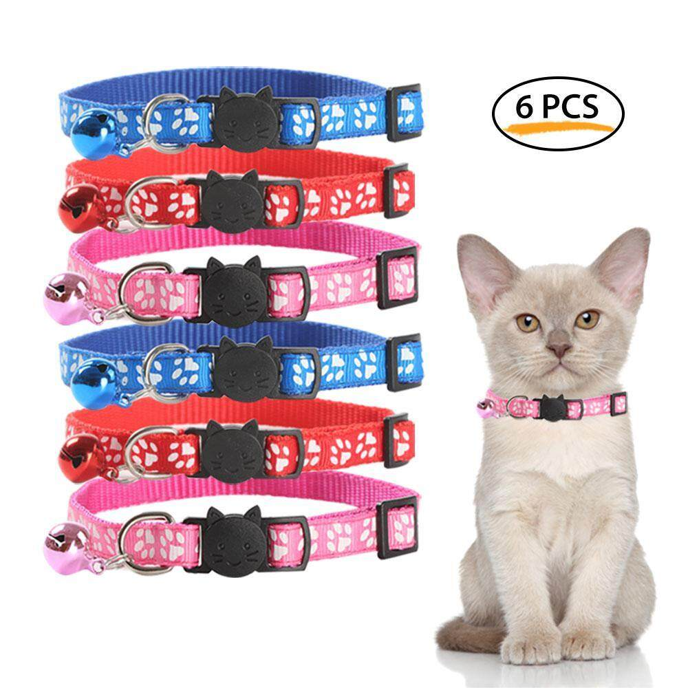 Hosdog 6 Pcs Breakaway Cat Collars With Bell Adjustable Style For Small Pets Puppies And Kitty By Hosdog.