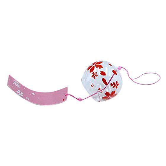 Glass Wind Chime Bell Hanging Ornament Gift Sakura Cherry Blossom Pattern Red By Shakeshake.