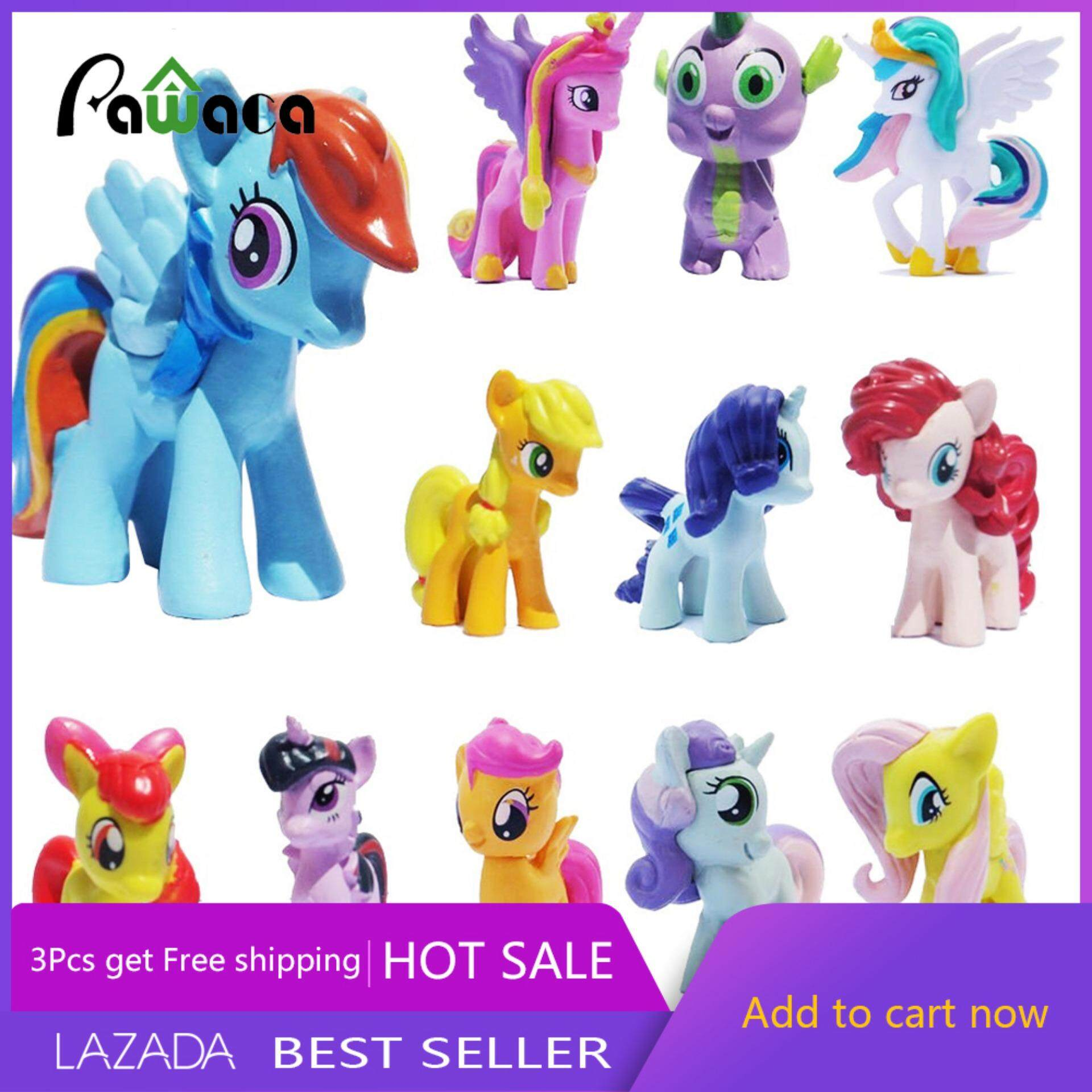 [FREE SHIPPING]Pawaca Cool Baby MINI Dolls Lot 12Pcs My Little Pony Friendship Is Magic Cake Figure Kids Toy - Intl