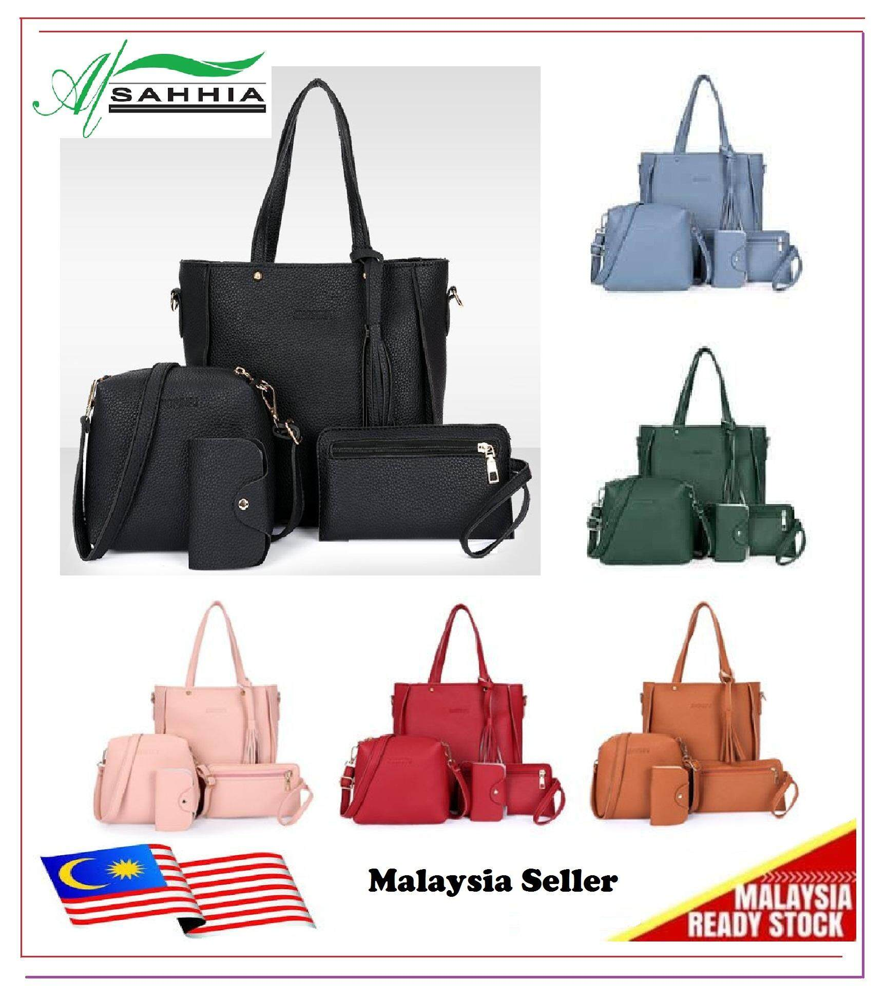 Ready Stock 4 In 1 Sammi Casual Purse Shoulder Bag Sling Beg Tangan Handbag