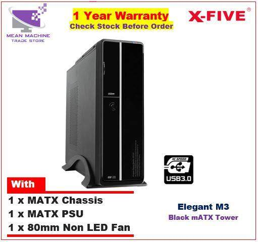 #X-Five Elegant M3 MATX Chassis ( MATX PSU + 8cm Fan Included)# Malaysia