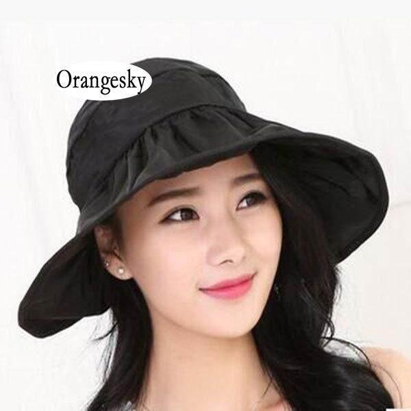 6185dc35 Orangesky Fashion Brimmed Sun Hats Foldable Women Sunhats Self-tie Solid Hat  Summer Beach Floppy