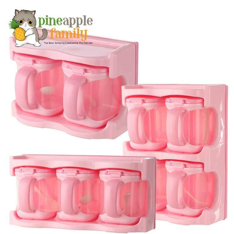 Kitchen Storage Clear Seasoning Rack Spice Container By Pineapple Family.