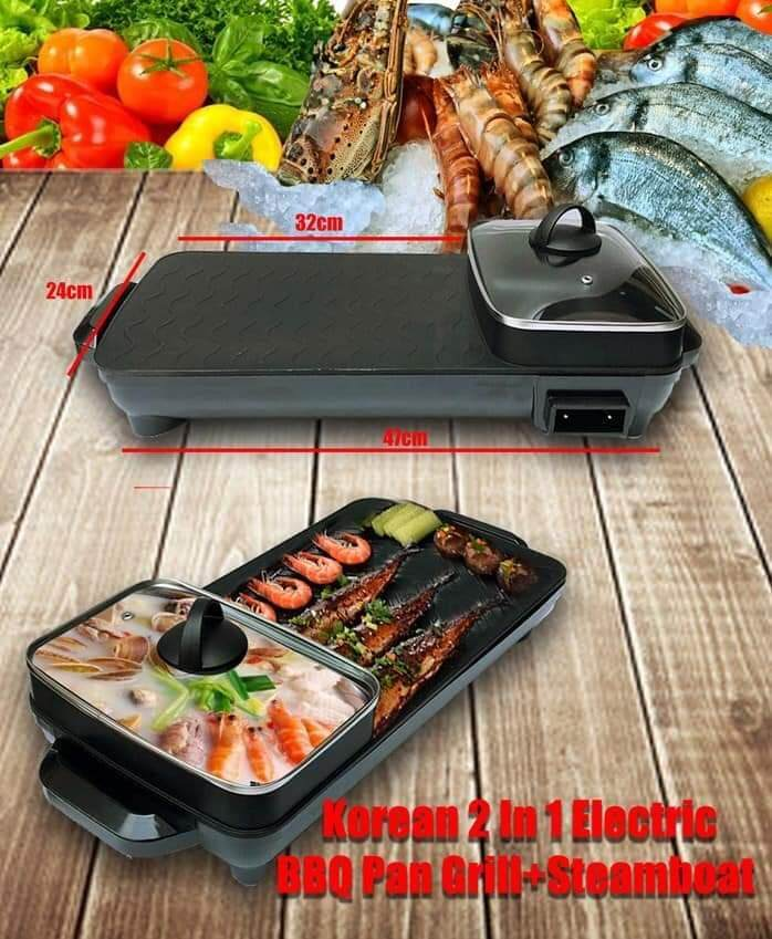 【new】2 In 1 Multifunction Bbq Electronic Pan Grill Teppanyaki & Steamboat Hot Pot Shabu Roast Fry Pan 乐滋滋 By Bliss Home Living.