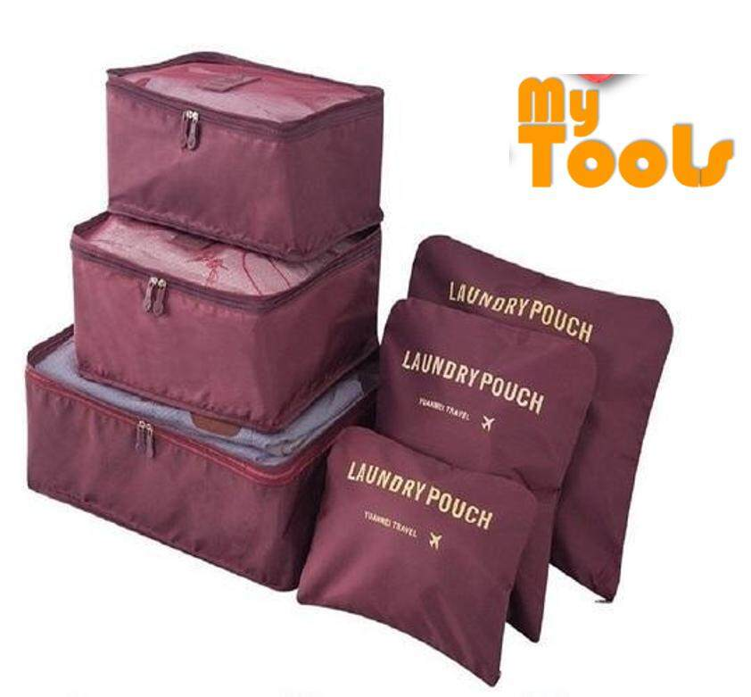 6 in 1 Waterproof Travel Storage Bags Clothes Packing Cube Luggage  Organizer Pouch - MAROON 98a874fe4bbfd
