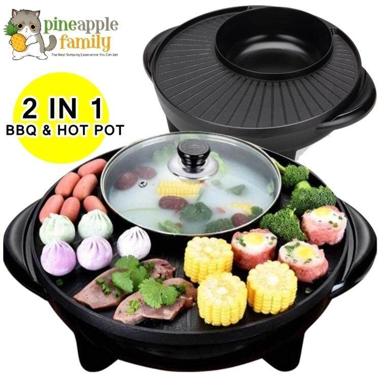 2 In 1 Korean Bbq Grill & Steamboat Teppanyaki Hot Pot Shabu Roast Fry Pan Round By Pineapple Family.