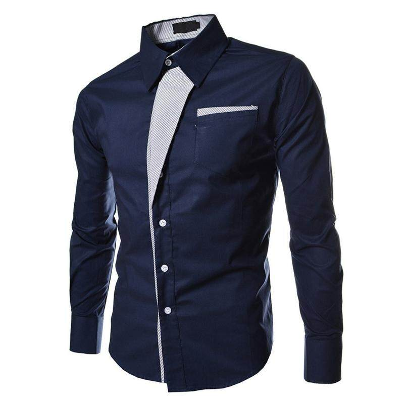 223e0bf01d19 Autumn Dark Blue Casual Male Long Sleeve Stripe Shirts Social Blouses Slim  Fit Shirts L