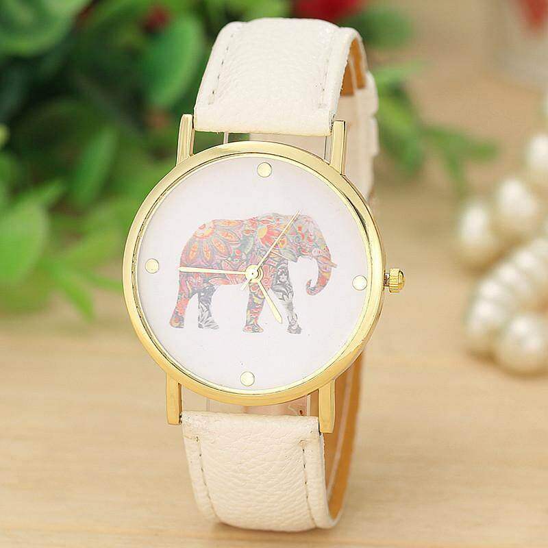SPACICKIE Fashion Women Elephant Printing Pattern Weaved Leather Quartz Dial Watch Malaysia