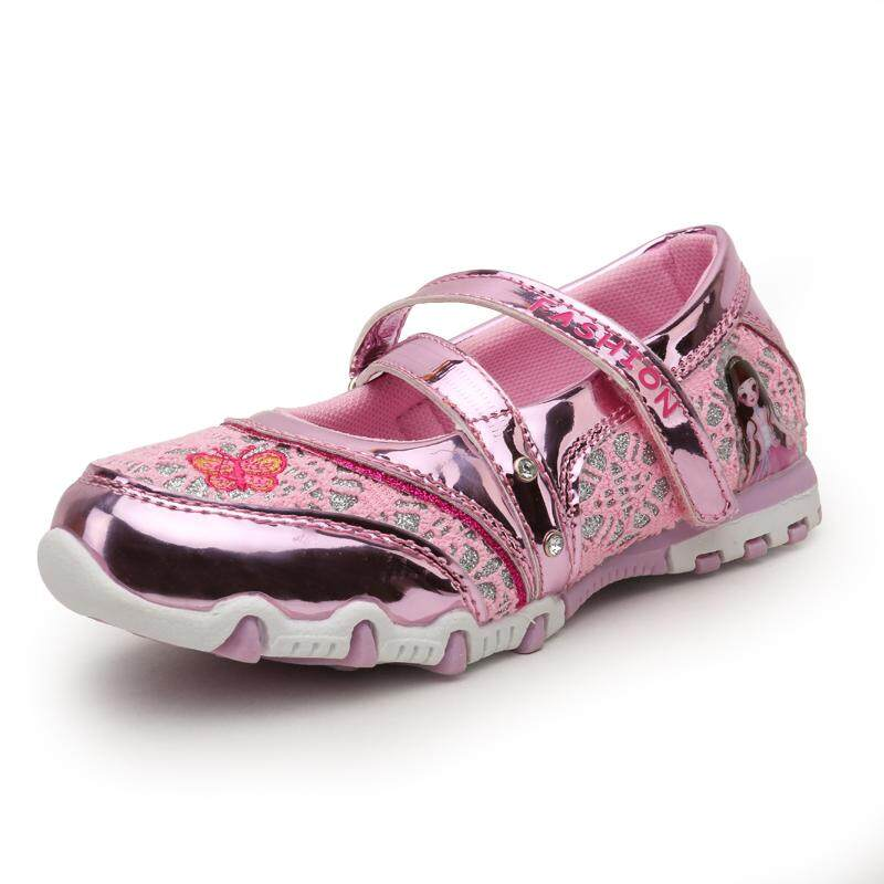 7798618b23 Children Princess Glitter Sandals Kids Girls Soft Shoes Square Low-heeled  Dress Party Shoes Pink /Silver/Gold Size(27-36)