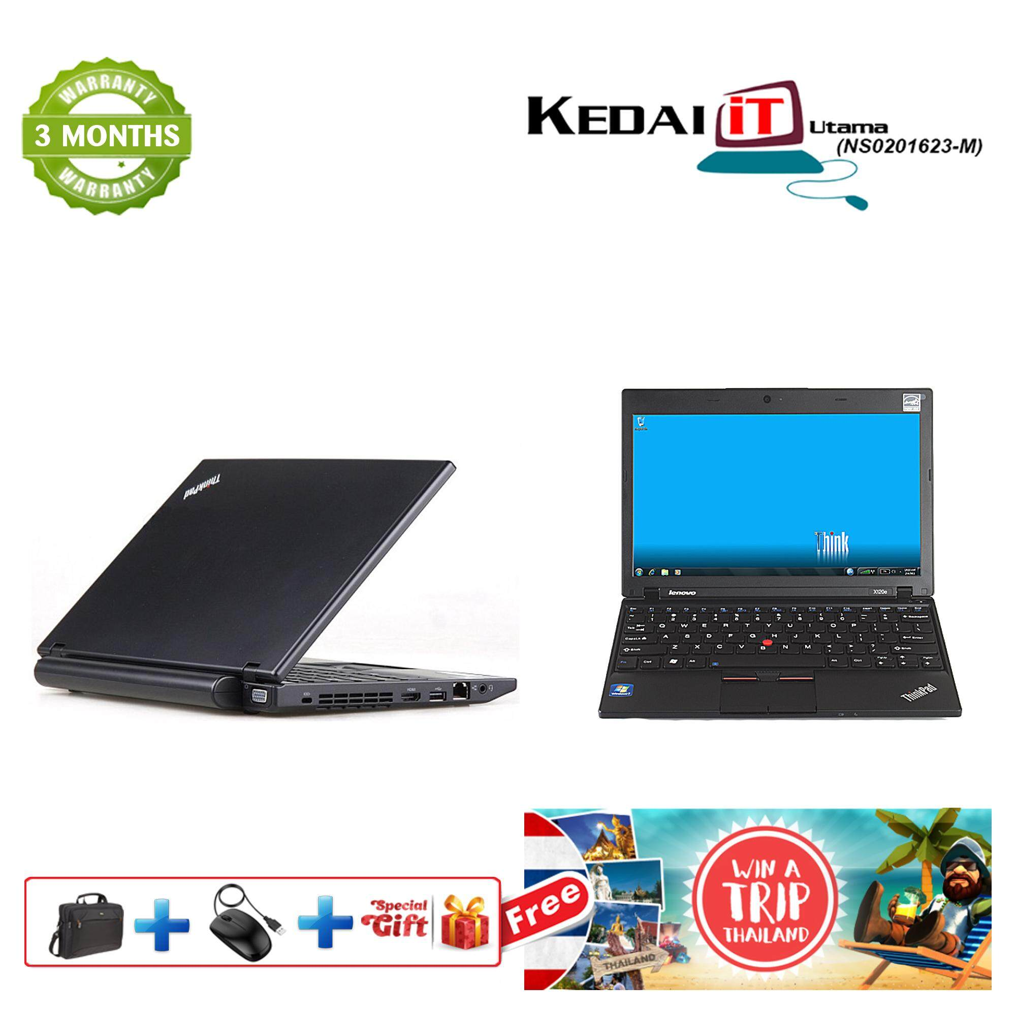 Lenovo X120E - 11.6 Windows 10/Win 7 HDMI, Wifi, WebCam , AMD, 250GB/320GB HDD , 2GB RAM, 3 Months Warranty (Black) Refurb Malaysia