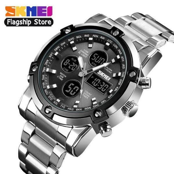 SKMEI New Men Fashion Digital Watches Quartz Stainless Steel Watch Dual Display  3 Time Countdown Waterproof Wristwatches 1389 Malaysia