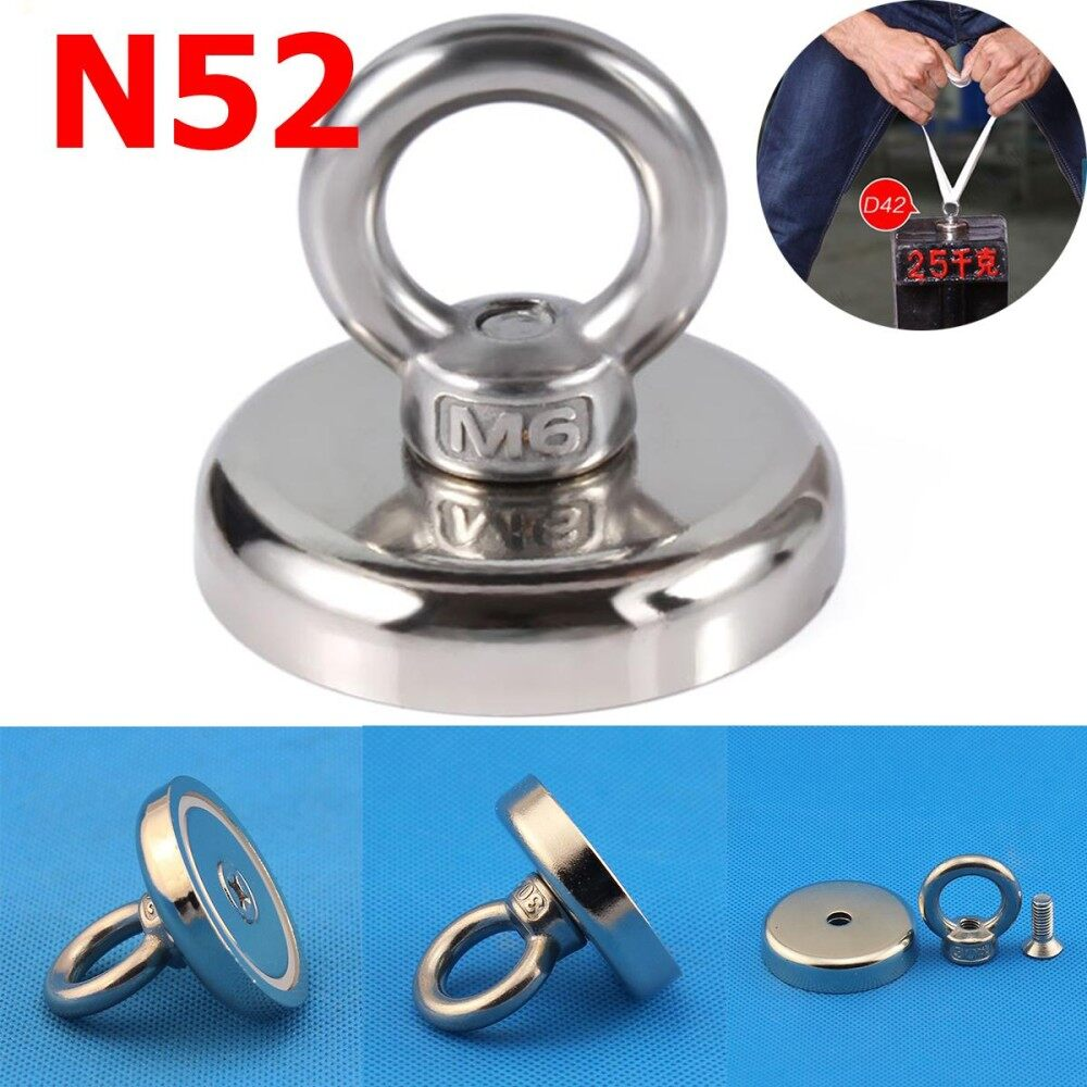 2X 37KG N52 Recovery Magnet Strong Sea Fishing Diving Treasure Hunting 42x40mm
