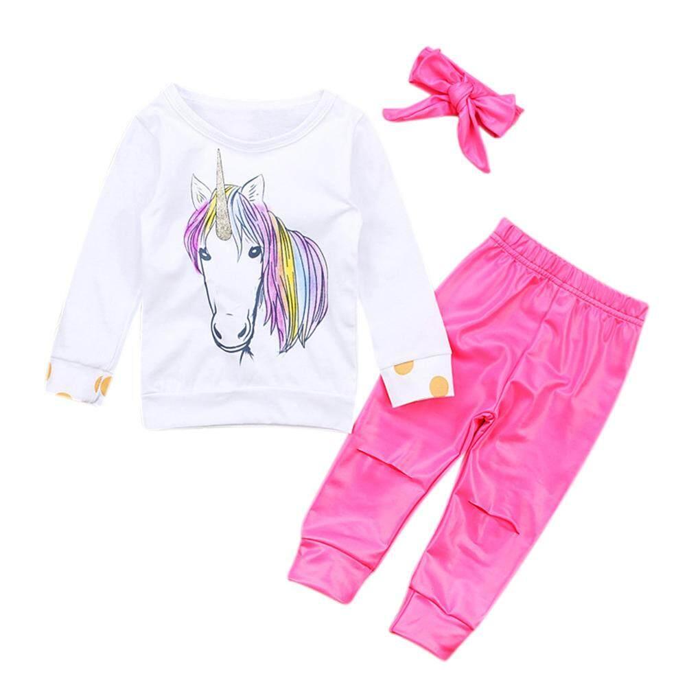 75340a22d Racoco 3Pcs/Set Baby Girl Long Sleeve Unicorn Tops + Pants with Hole + Hair