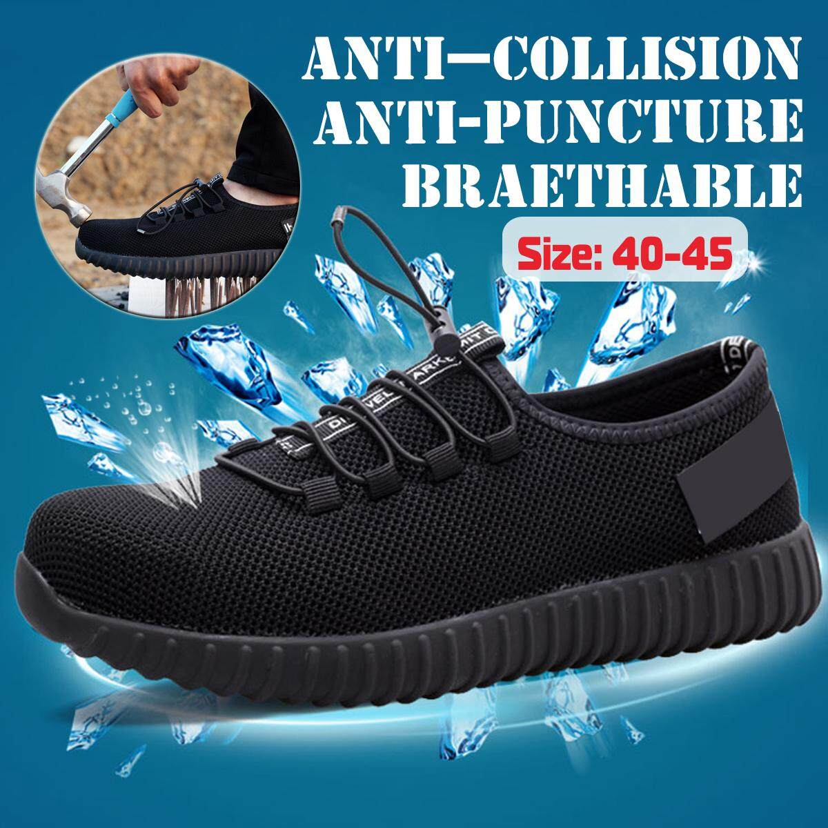 【Free Shipping + Flash Deal】Man Safety Work Shoes Steel Toe Breathable Fashion Shoes Hiking Climbing Shoes