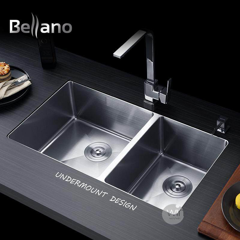 Terrific Bellano Hm4486Bl Stainless Steel Top Mountunder Mount Kitchen Sink 1 2Mm Thickness Home Interior And Landscaping Palasignezvosmurscom