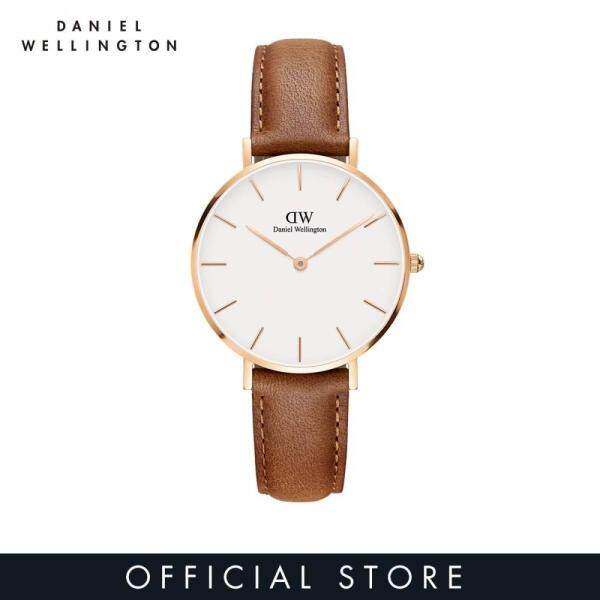 Daniel Wellington Petite Durham White 32mm - White on gold - 14mm Daniel Wellington Durham Brown Leather Strap - DW Watch for Women Malaysia