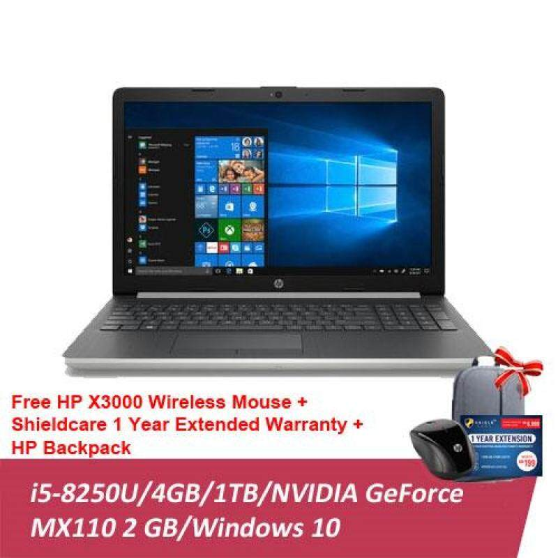 HP Notebook 15-da0006TX/ 15-da0007TX (i5-8250 4GB 1TB MX110 2GB)(15.6 FHD)(Black/ Silver) [FREE] HP X3000 Wireless Mouse + HP Backpack + Shieldcare - 1 Year Extended Warranty Malaysia