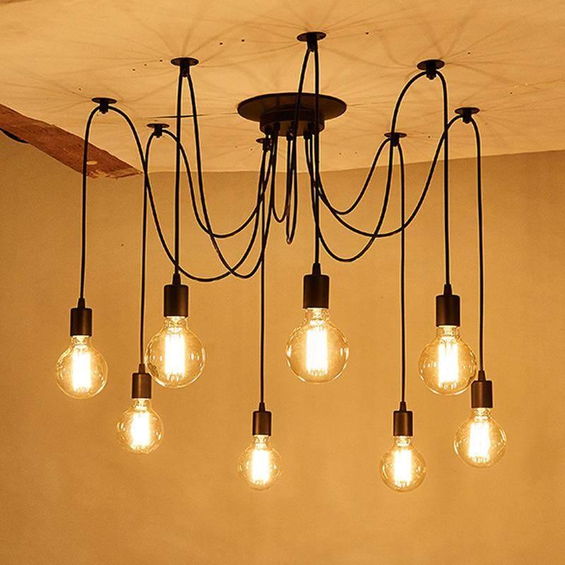 2958389b875 RHS Online 8 Heads Vintage Industrial Ceiling Lamp Edison Light Chandelier  Pendant Lighting