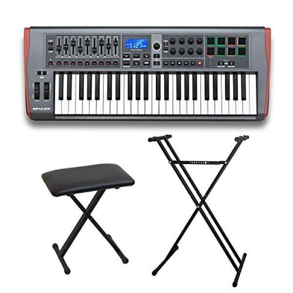 Novation Impulse 49 USB Midi 49-Key Controller Keyboard with Double X Style Stand and X-Style Adjustable Padded Bench / From USA
