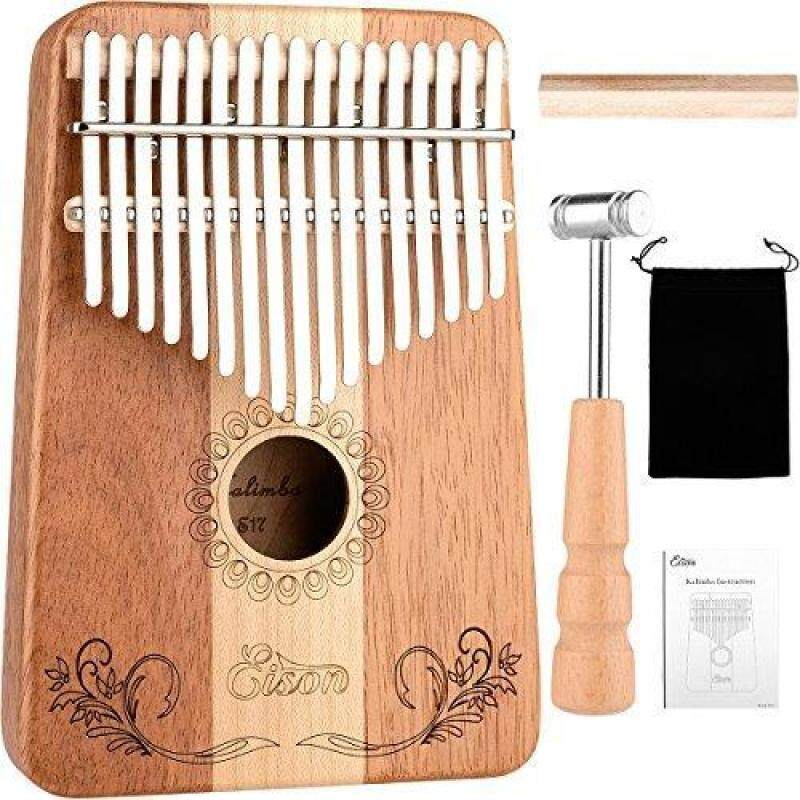 Kalimba,Eison Kalimba 17 keys Thumb Piano Solid Finger Piano with Key Locking System with Instruction and Tune Hammer &Wood Mahogany & Maple Body- Best Gift for Music Fans Kids Adults,E-17 Malaysia