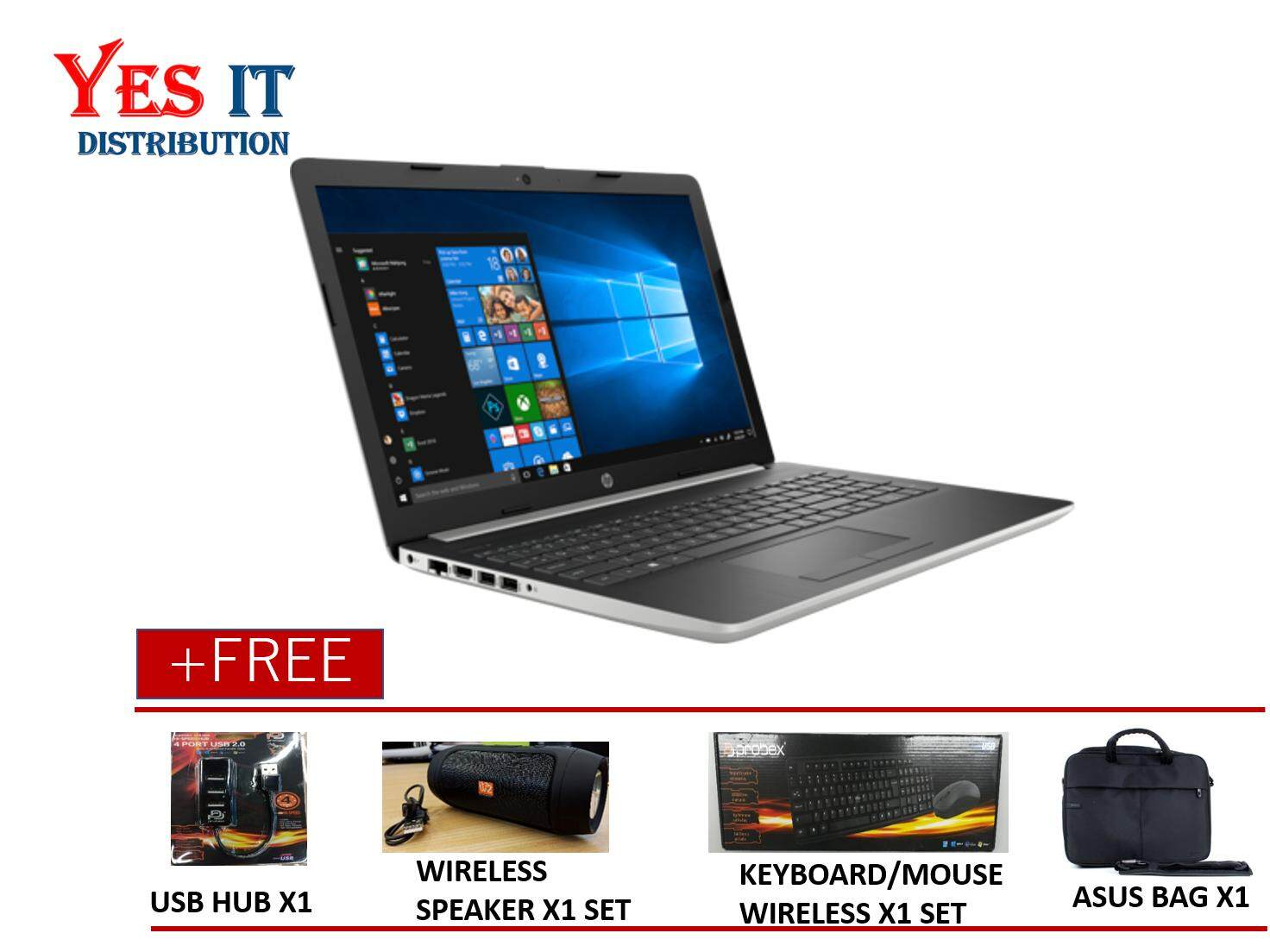 HP 15-DA0007TX (i5-8250U, 4GB, 1TB, W10H,15.6, Natural Silver) FREE HP BACKPACK , WIRELESS MOUSE & SPECIAL GIFT Malaysia