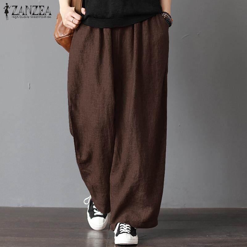 d4bbd91e5d642 ZANZEA Womens Oversize Harem Pants Wide Legs Casual Pants Elastic Waist  Trousers
