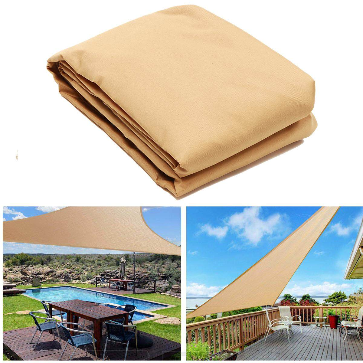 5m X 5m X 5m Sun Shade Sail Triangle Outdoor Patio Canopy Anti 90% Uv Top Shelter Pe Cloth 300d (160g) Awnings By Glimmer.