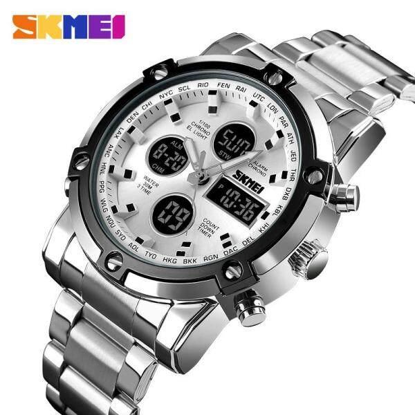 SKMEI Digital Watch Lelaki Kuarza Sukan Watch Perniagaan Mewah Stainless Steel Tali Jam Lelaki Jam Kalis Air 1389 Malaysia