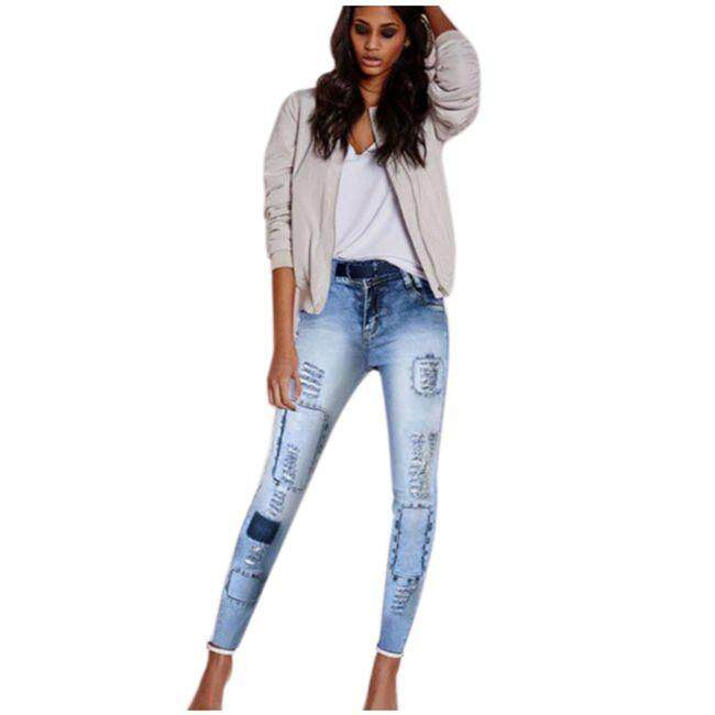 accaa6e0ba326e Women Low Waist Fashion Ripped Slim stretch Pencil Pants Beggar Style Hole  Patchwork Distressed Skinny Jeans