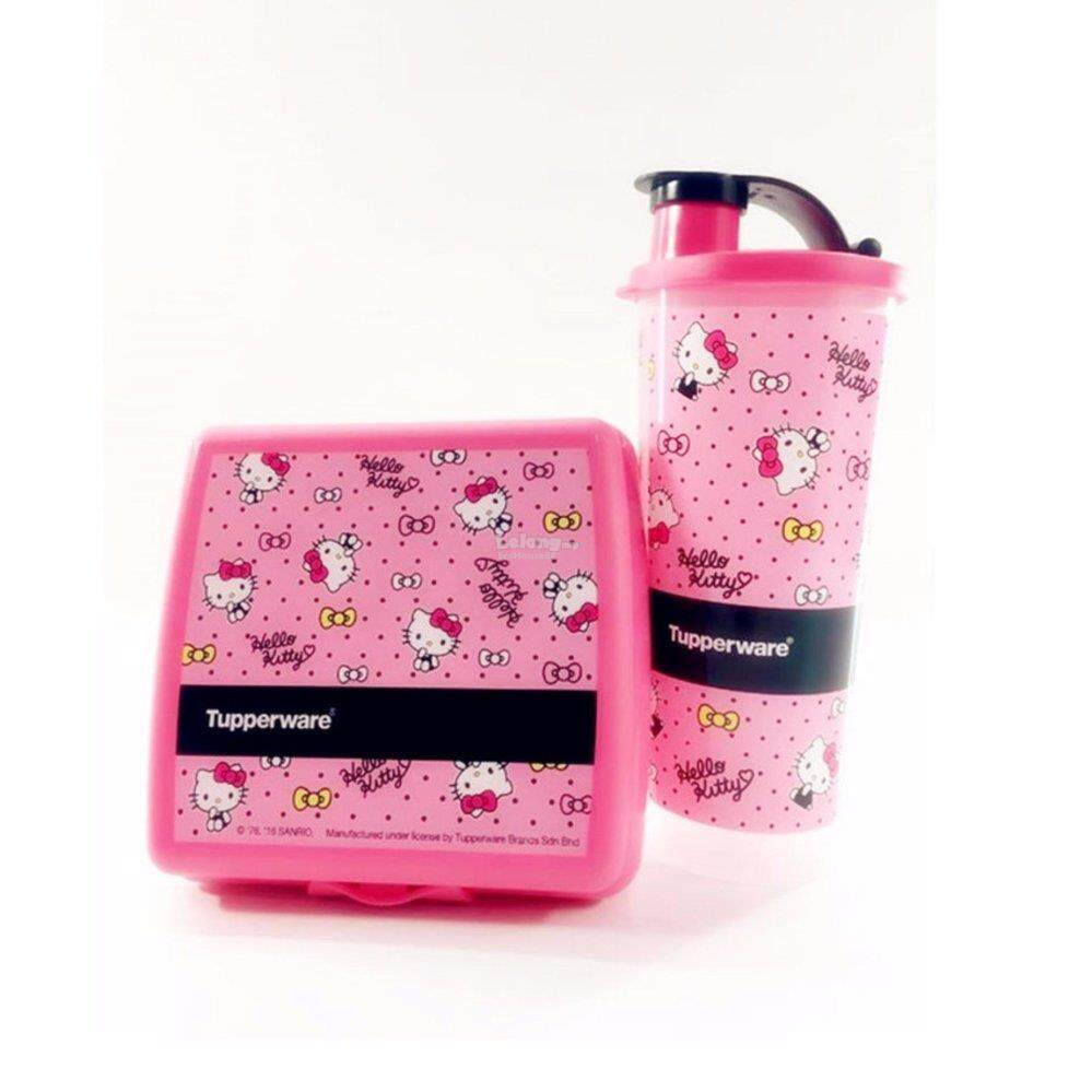 14f069831 TUPPERWARE NEW HELLO KITTY LUNCH SET TUMBLER SANDWICH KEEPER LIMITED EDITION