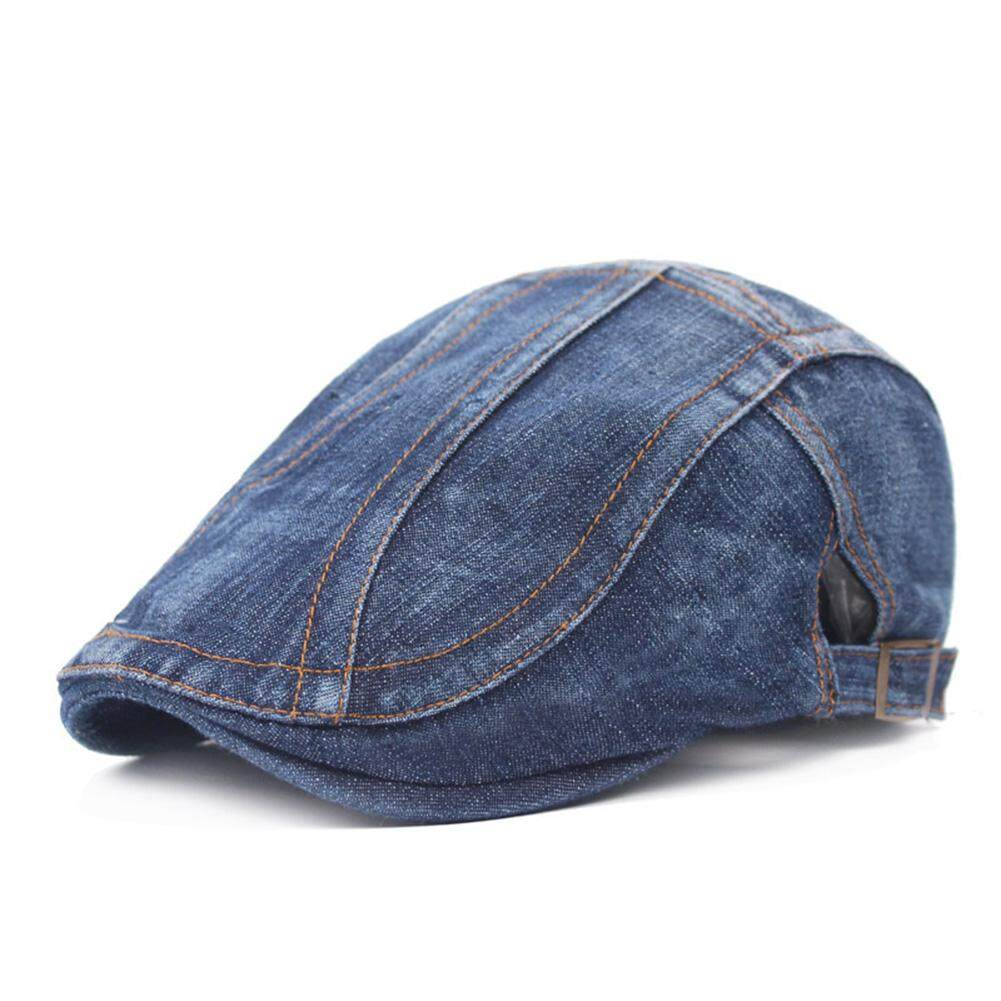 184506f7399 BN Unisex Denim Flat Berets Caps Spring Autumn Adult Jeans Hat Adjustable  Dark Denim Flat Caps