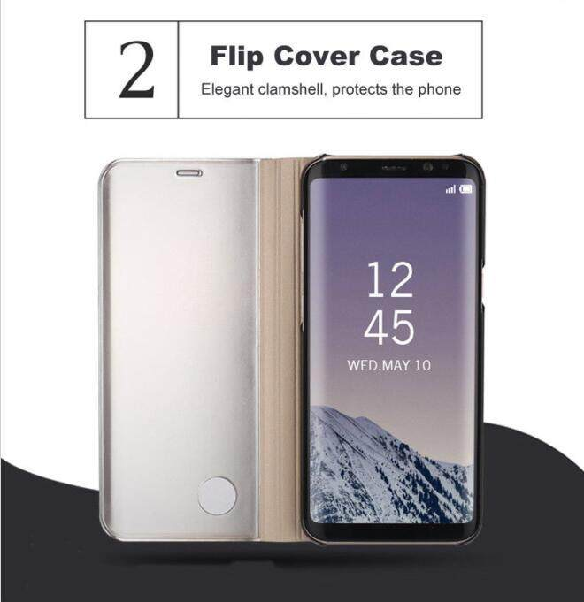 Samsung Galaxy J7 Prime/On7 2016 Flip Cover,Fashion Smart Auto Sleep and  Wake Up Function Clear Window View Front Mirror Design Flip Leather Cover