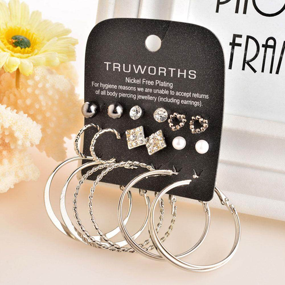 Women Hoop Earrings Buy At Best Price In The Special Gift Cocoa Jewelry Anting Elegant Love Bodhi 9 Pairs Stud Set Party Rhinestone Faux Pearl Fashion Silver
