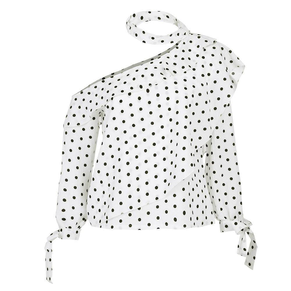 65318955261 Product details of Women Girls Blouses Shirts Tops Women One Shoulder Polka  Dot Blouse Tops Lantern Sleeve Chiffon Bow Shirt