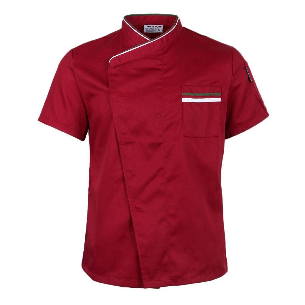 MagiDeal Chef Jacket Uniform Short Sleeves Hotel Kitchen Apparel Cook Coat L Red