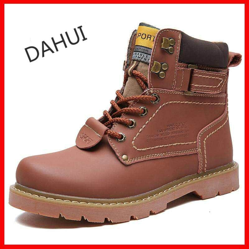Mens Work Boots Leather Safety Shoes Men Casual Winter Boots Fashion  Waterproof (Brown) fb38bf5c02