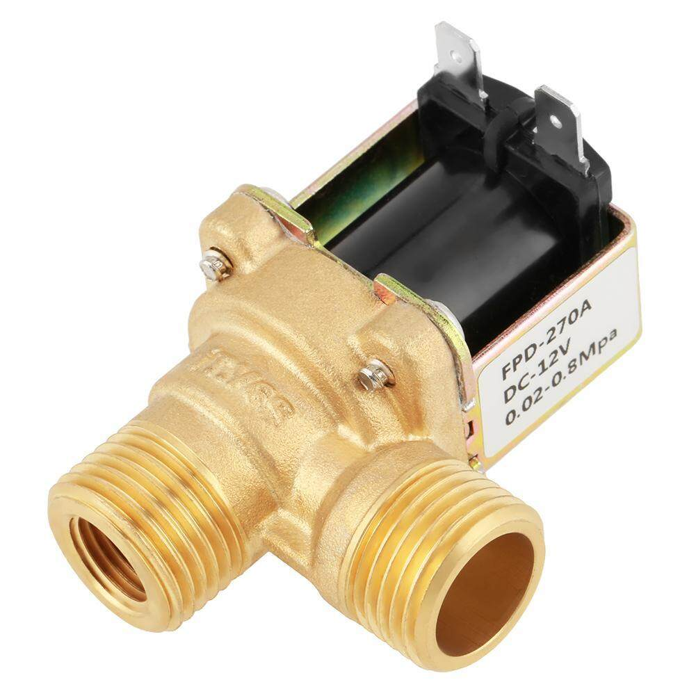 【CHE】DC 12V DN15 G1/2 Brass Electric Solenoid Valve Normally Closed Water Inlet Switch with Filter(Gold)