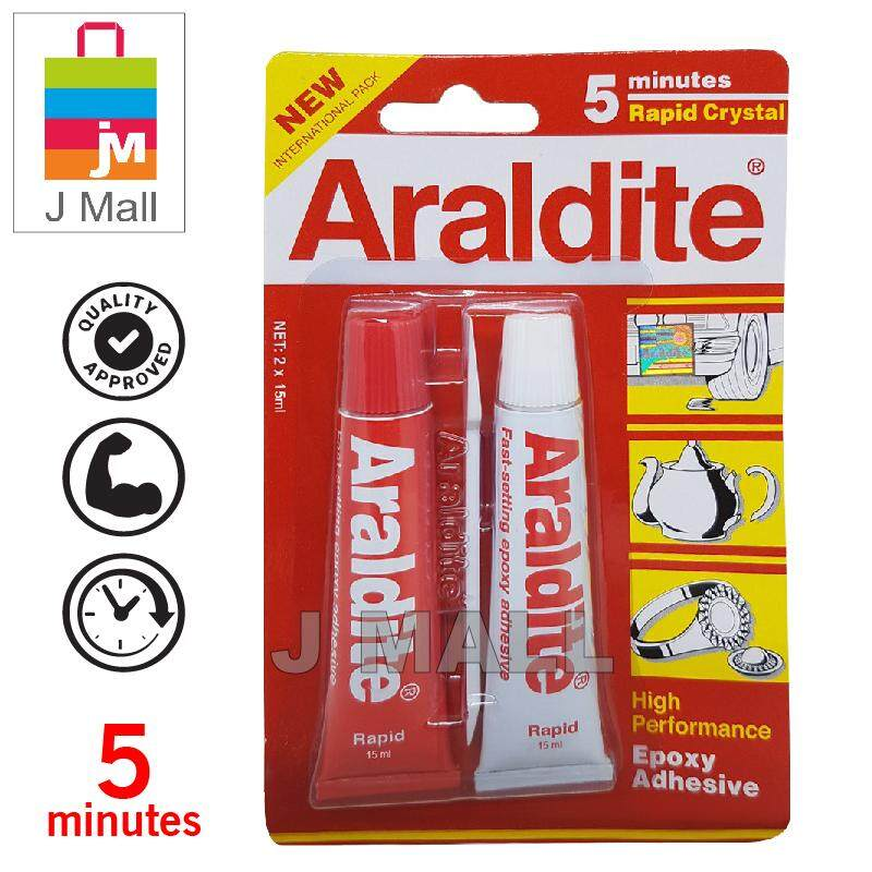ARALDITE RAPID CRYSTAL 5 MINUTES HIGH PERFORMANCE FAST SETTING EPOXY ADHESIVE GLUE RED 2x15ml
