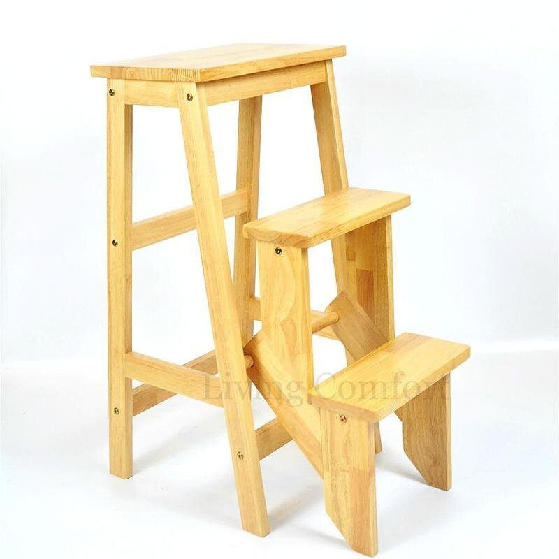 Awesome Hk Rubber Wood Folding Step Chair Step Stool Stepladder Natural Gmtry Best Dining Table And Chair Ideas Images Gmtryco