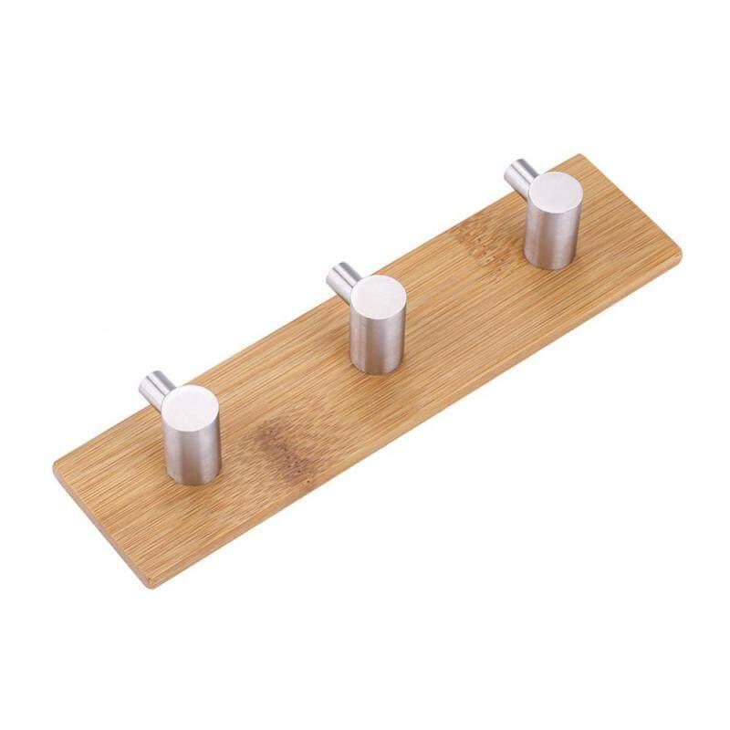 Natural Bamboo Stainless Steel Wall Hanger Hook Bag Key Towel Hanger Kitchen Three Hook