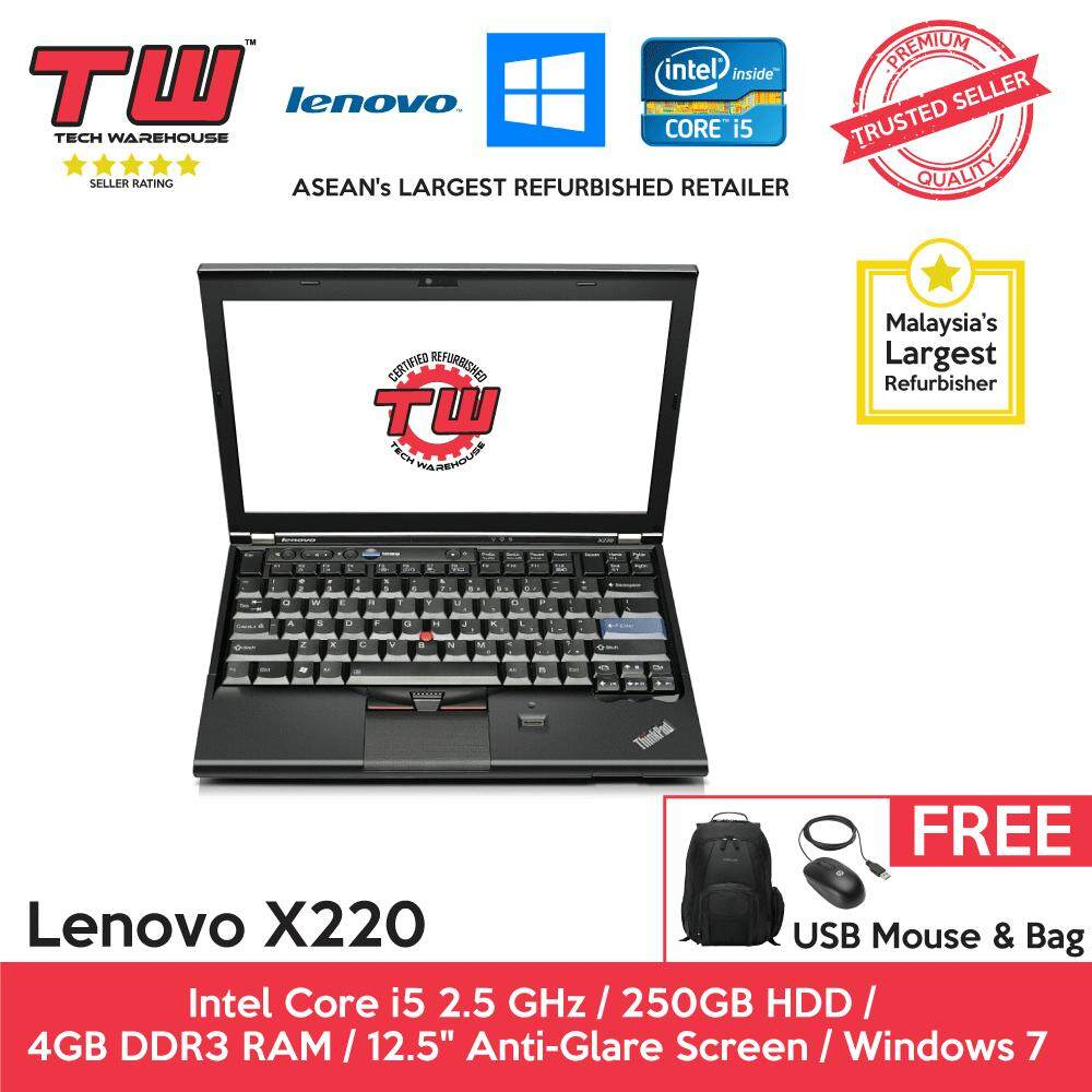 Lenovo X220 Core i5 2.5 GHz / 4GB RAM / 250GB HDD / Windows 7 Laptop / 3 Months Warranty (Factory Refurbished) Malaysia