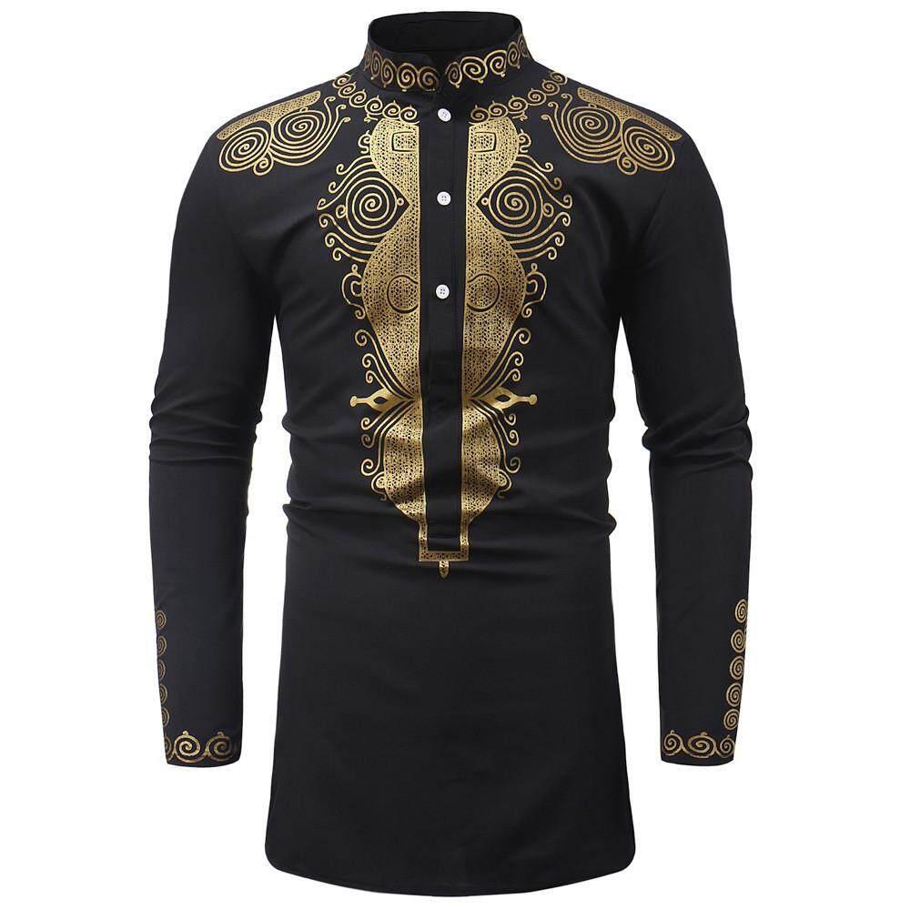 3694512607a ViviMall Men s Autumn Winter Luxury African Print Long Sleeve Dashiki Shirt  Top Blouse