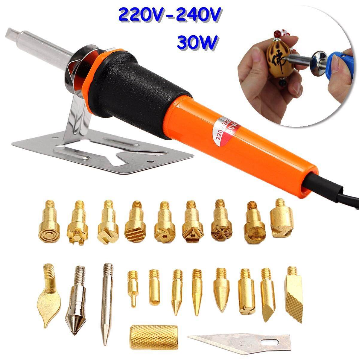 24pcs Wood Burning Pen Extra Tips and Stencils Soldering Iron Burner Hobby Kit