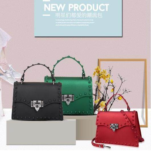 Jelly Bag Large 2018 Trend Sling Handbag Top Handle Rivet 25cm