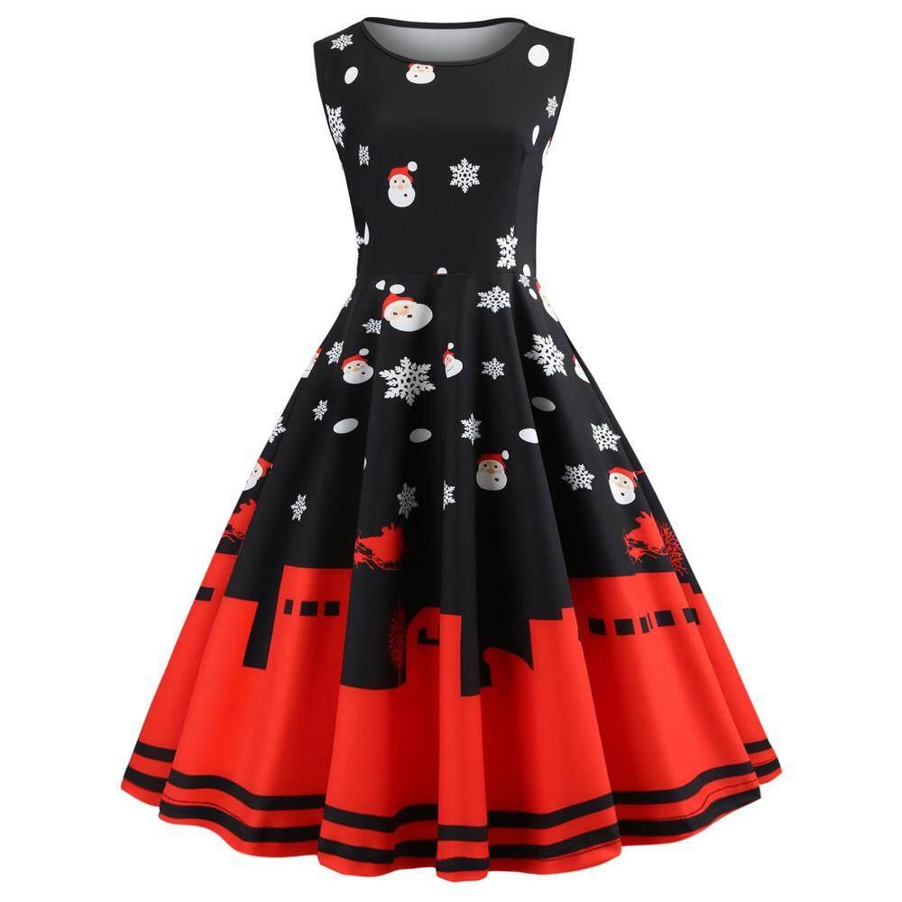 Cnb2c Womens Vintage Santa Christmas Printed Dress Ladies Sleeveless Dress Xmas Dress For Women By Cnb2c.