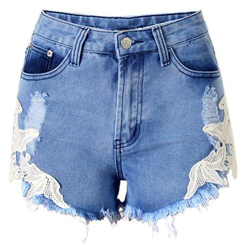 Womans New Sexy Lace Patchwork Pants High Waisted Tassels Ripped Shorts Jeans Trousers, Blue Xl By Fastour.