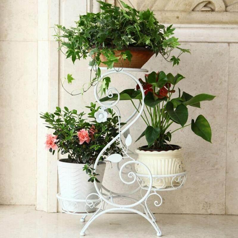 AILIN European-style 3 Layer Iron Flower Pot Rack Living Room Shelves 45*20*55cm