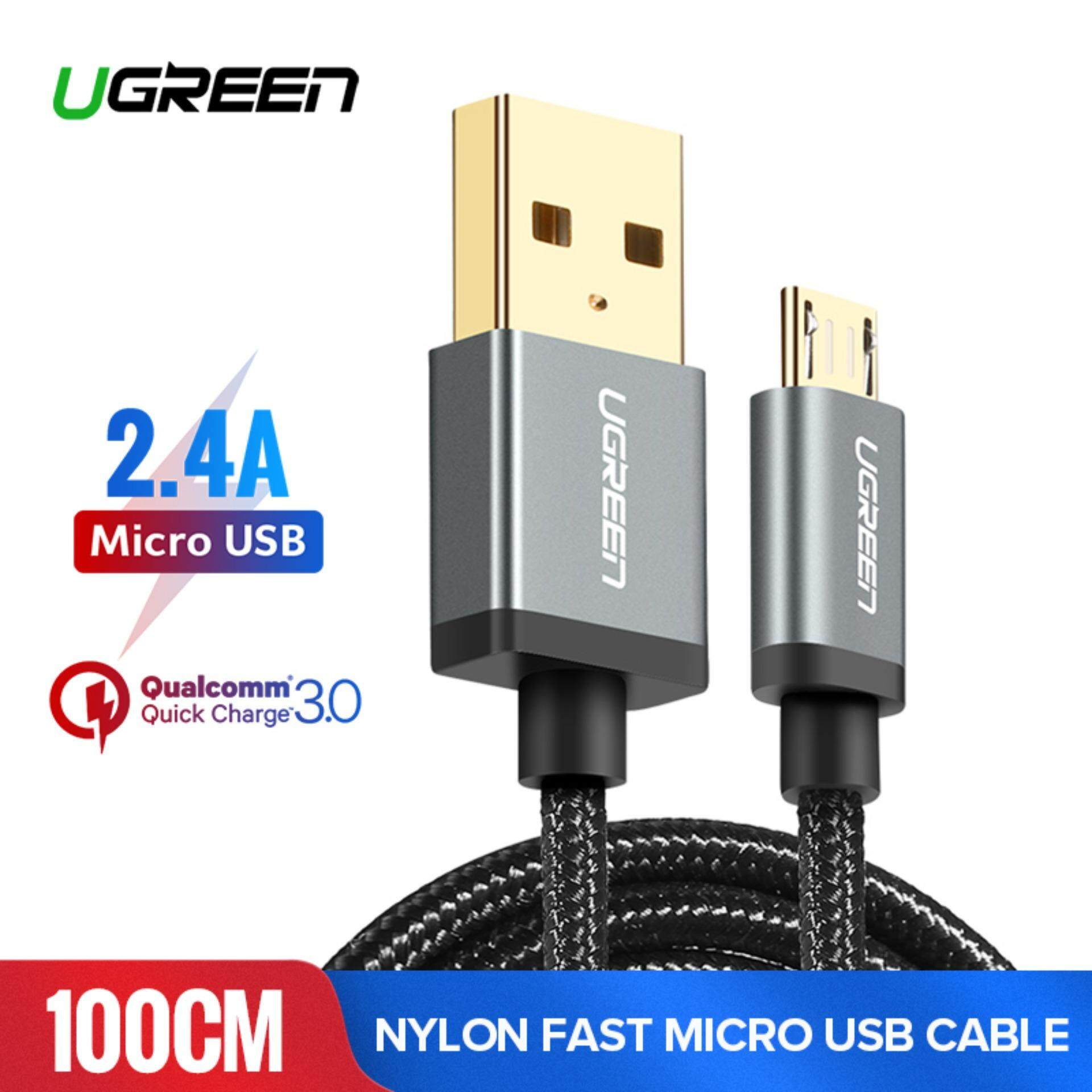 UGREEN 1Meter Micro USB Cable Nylon Braided Fast Quick Charger Cable USB 2.0 fast charging Cord